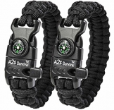 "A2S Protection Paracord Bracelet K2-Peak – Survival Kit with Embedded Compass, Fire Starter, Emergency Knife & Whistle (Black / Black 8.5"") - 1"