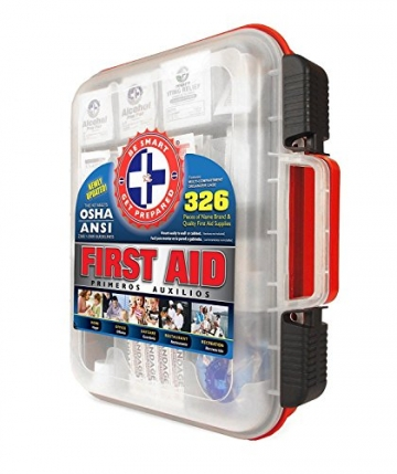 First Aid Kit Hard Red Case 326 Pieces Exceeds OSHA and ANSI Guidelines 100 People - Office, Home, Car, School, Emergency, Survival, Camping, Hunting, and Sports - 2