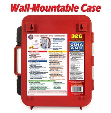 First Aid Kit Hard Red Case 326 Pieces Exceeds OSHA and ANSI Guidelines 100 People - Office, Home, Car, School, Emergency, Survival, Camping, Hunting, and Sports - 3