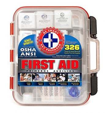 First Aid Kit Hard Red Case 326 Pieces Exceeds OSHA and ANSI Guidelines 100 People - Office, Home, Car, School, Emergency, Survival, Camping, Hunting, and Sports - 1