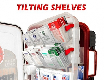 First Aid Kit Hard Red Case 326 Pieces Exceeds OSHA and ANSI Guidelines 100 People - Office, Home, Car, School, Emergency, Survival, Camping, Hunting, and Sports - 5