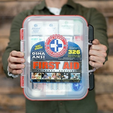 First Aid Kit Hard Red Case 326 Pieces Exceeds OSHA and ANSI Guidelines 100 People - Office, Home, Car, School, Emergency, Survival, Camping, Hunting, and Sports - 6