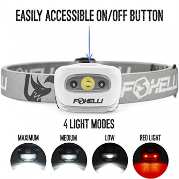 Foxelli Headlamp Flashlight - Bright 165 Lumen White Cree Led + Red Light, Perfect for Runners, Lightweight, Waterproof, Adjustable Headband, 3 AAA Batteries Incl. (White) - 3