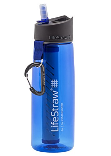 LifeStraw Go Water Filter Bottle with 2-Stage Integrated Filter Straw for Hiking, Backpacking, and Travel, Blue - 1