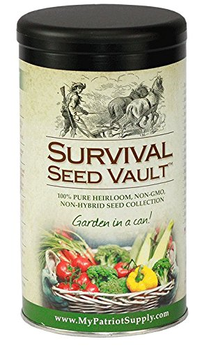 Survival Seed Vault Non-GMO Hardy Heirloom Seeds for Long-Term Emergency Storage – 20 Variety Pack in a Sturdy Can - 1