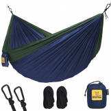 Hammock for Camping Single & Double Hammocks - Top Rated Best Quality Gear For The Outdoors Backpacking Survival or Travel - Portable Lightweight Parachute Nylon SO Navy & Forrest - 1