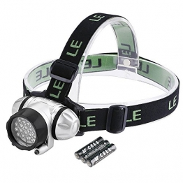 LE Headlamp LED, 4 Modes Headlight, Battery Powered Helmet Light for Camping, Running, Hiking and Reading, 3 AAA Batteries Included - 1
