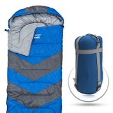 Sleeping Bag – Envelope Lightweight Portable, Waterproof, Comfort With Compression Sack - Great For 4 Season Traveling, Camping, Hiking, Outdoor Activities & Boys. (SINGLE) By Abco Tech (Blue) - 1